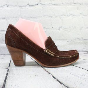 LL BEAN  Leather Toe Pump Loafer Heels  Size 8.5 M